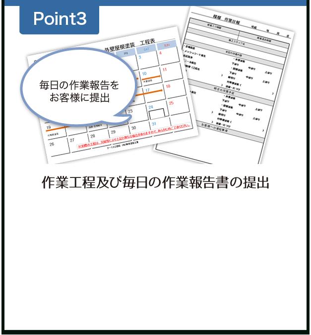 作業工程表及び毎日の作業報告書の提出