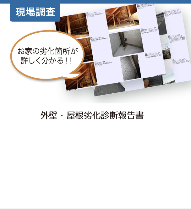 現地調査:外壁・屋根劣化診断書報告書